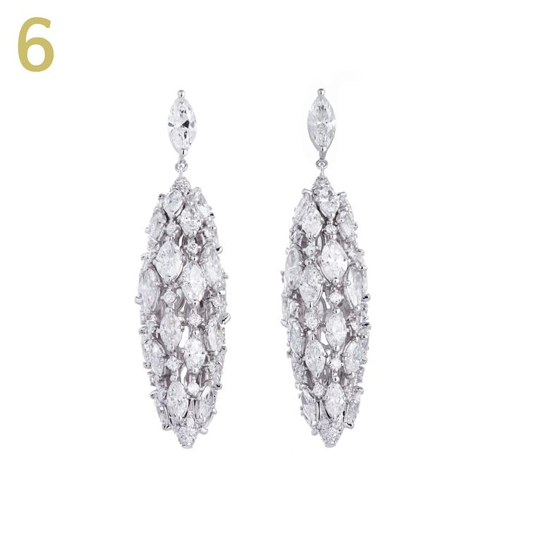 Sidney Garber Torchere white gold earrings with diamonds