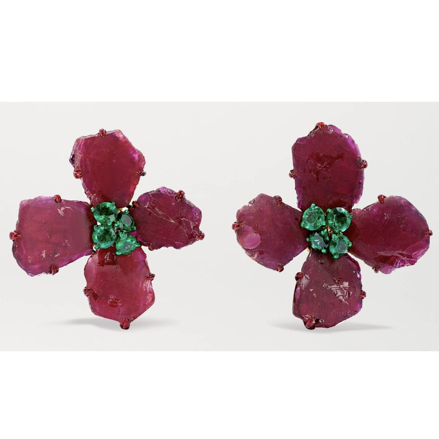 Ruby and emerald earrings by Bina Goenka