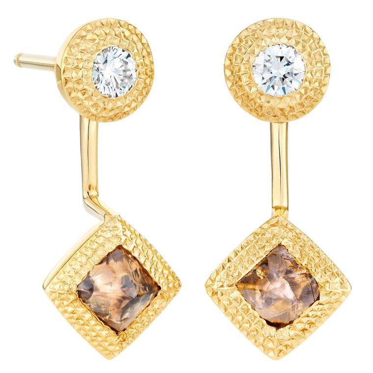 De Beers Talisman detachable rough diamond earrings