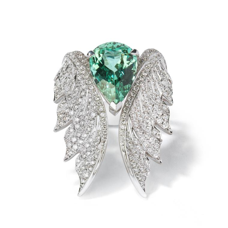 Stephen Webster Magnipheasant open feather ring and green tourmaline cocktail ring