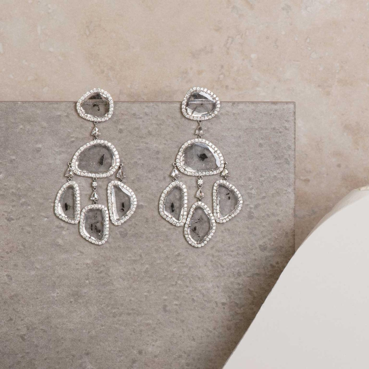 Manpriya B grey diamond slice Girandole earrings