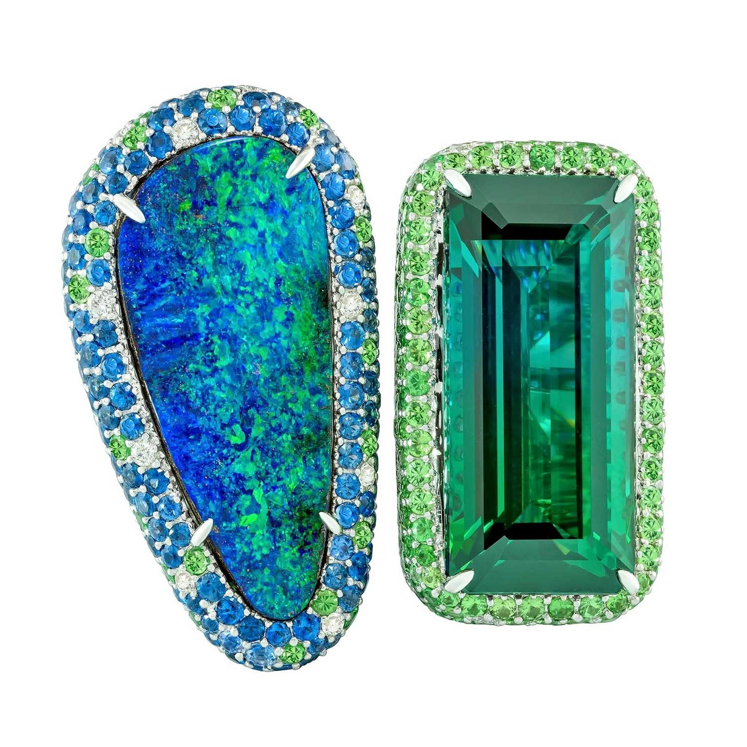 Margot McKinney double ring featuring a bi-coloured green tourmaline and an Australian Lightning Ridge opal