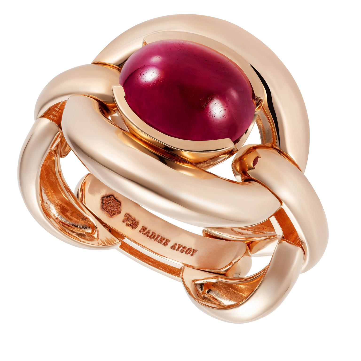 NAdine Aysoy RING RUBY CABOCHON, 18K Rose Gold (12.82g), Ruby Cabuchon 3.8CT, $3960