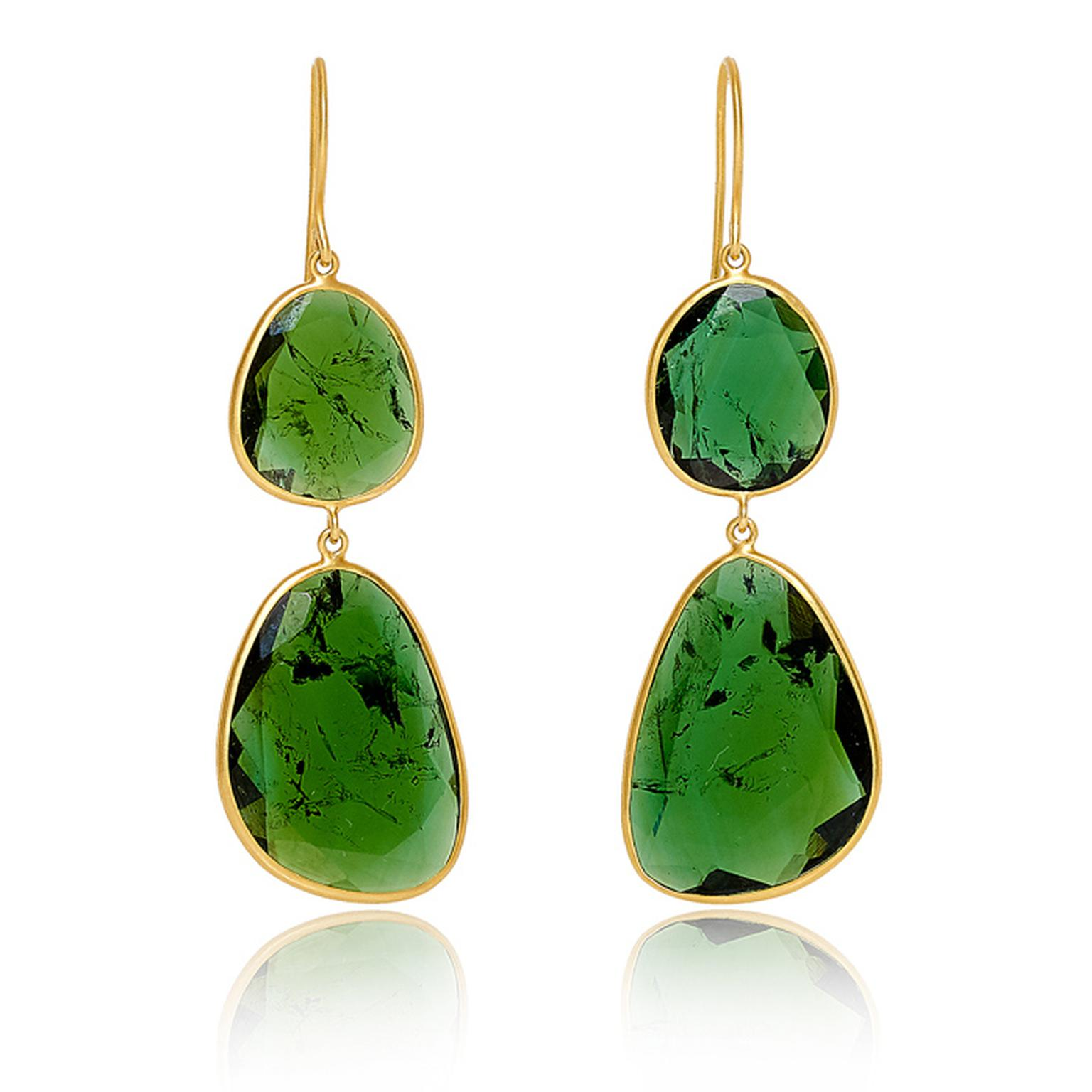 GreenT ourmaline Double Drop Earrings Pippa small