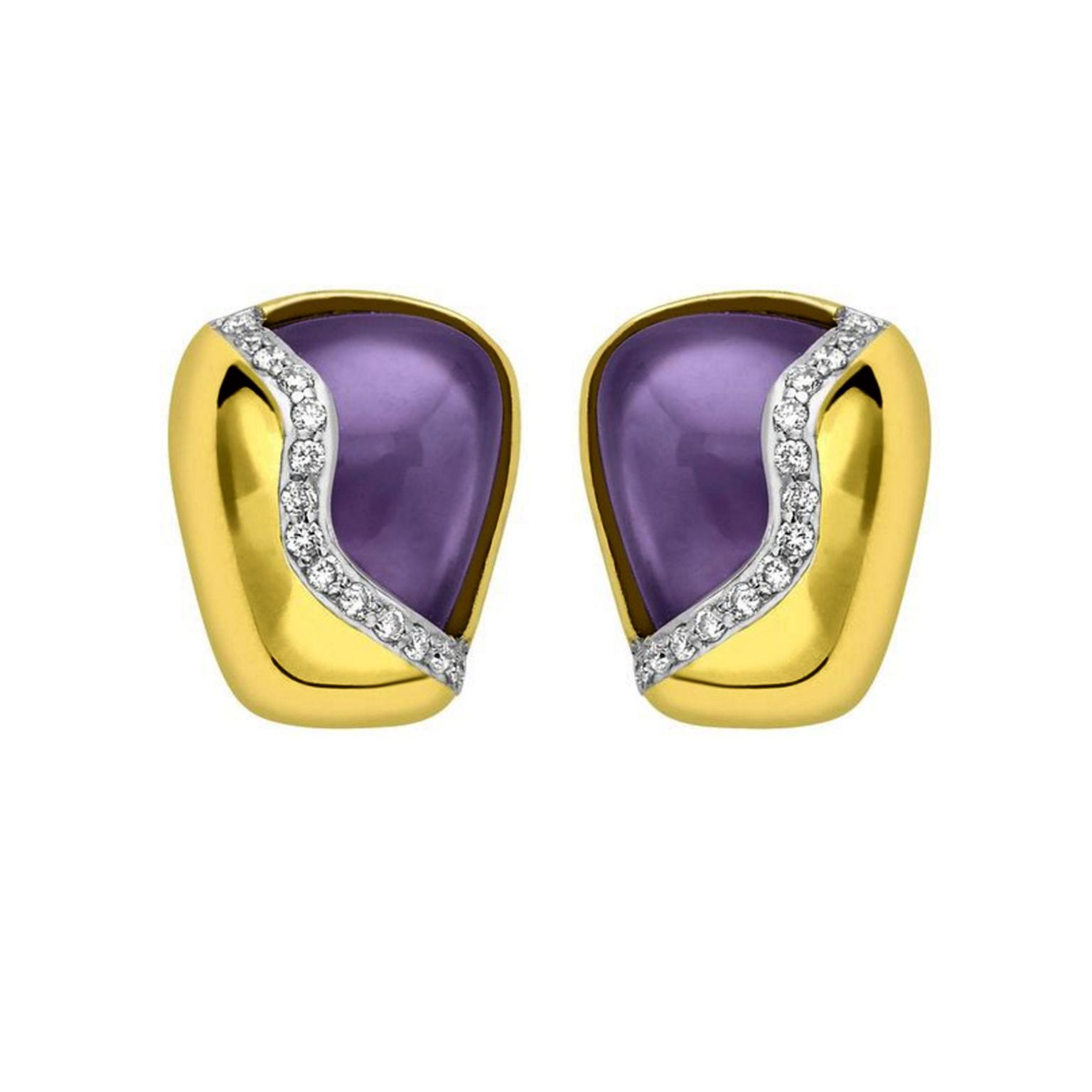 Hydra Amethyst Earrings In Yellow Gold With Diamonds