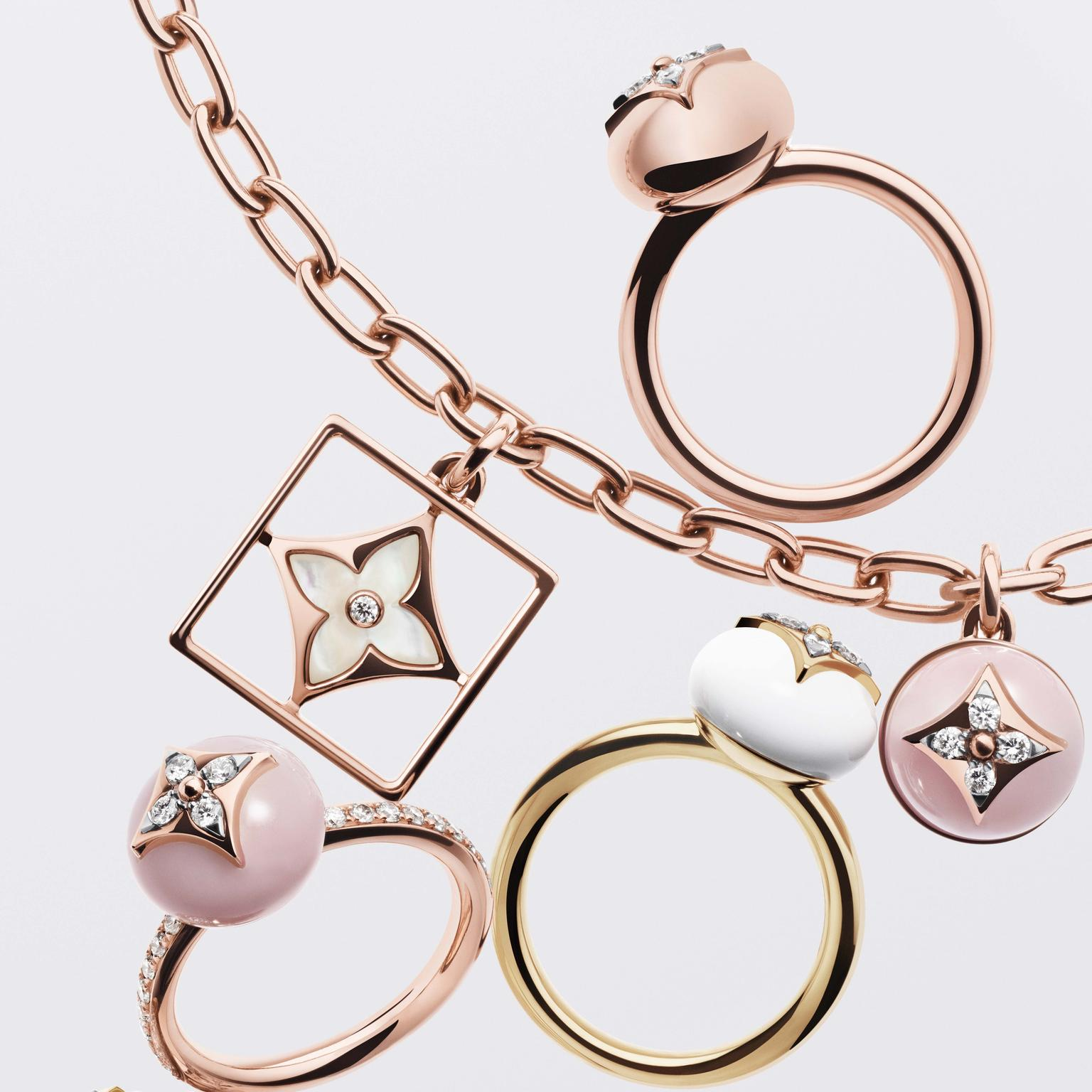 Louis Vuitton B Blossom rings and necklace