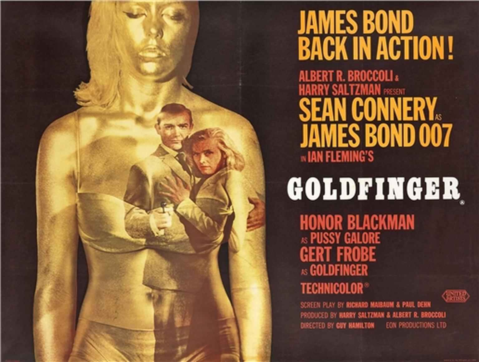 An original ad for Ian Fleming's Goldfinger, starring Sean Connery as James Bond and Honor Blackman as Pussy Galore.