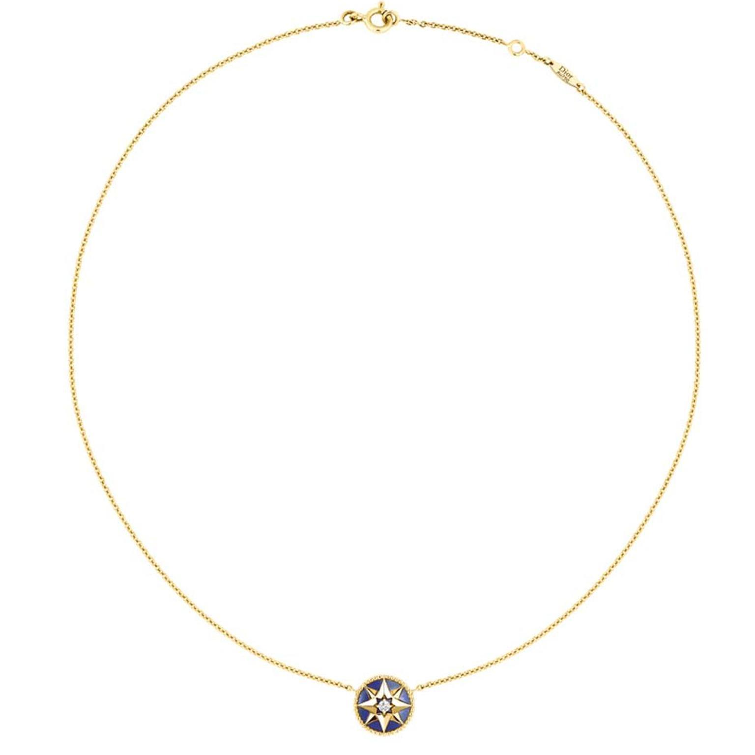The motif that appears on this yellow gold, lapis lazuli and diamond Rose des Vents necklace is inspired by Christian Dior's travels around the world but also by the star that was his lucky charm and his favourite flower, the rose.