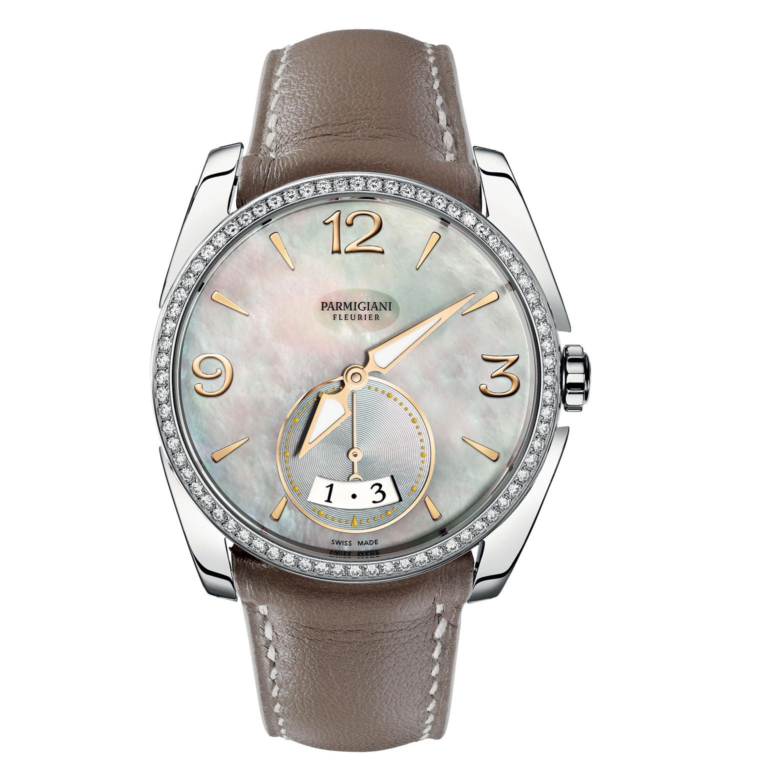 Parmgiani Tonda Metropolitaine steel watch with a mother of pearl dial
