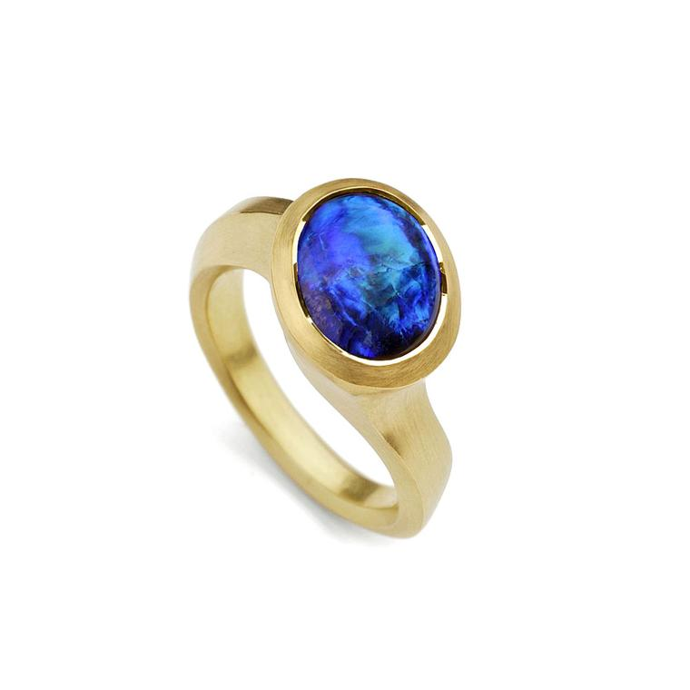 McCaul Goldsmiths lightning ridge opal and yellow gold ring
