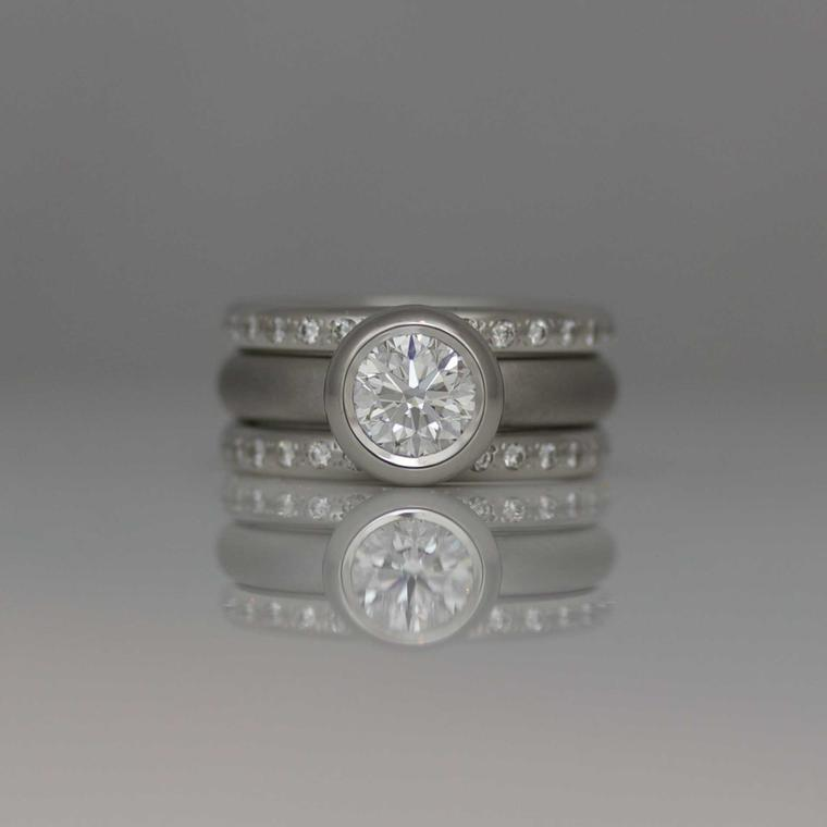 Rubover settings David Ashton Brilliant-cut diamonds in Platinum