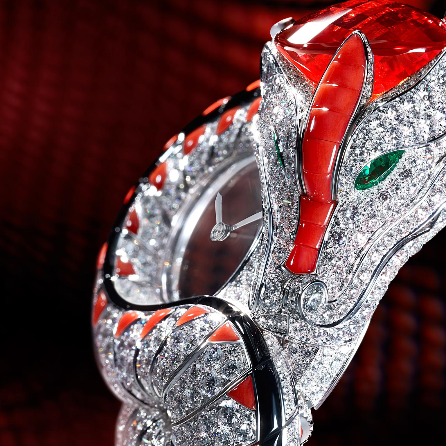 Cartier Dragon Mysterieux watch with diamond-set scales