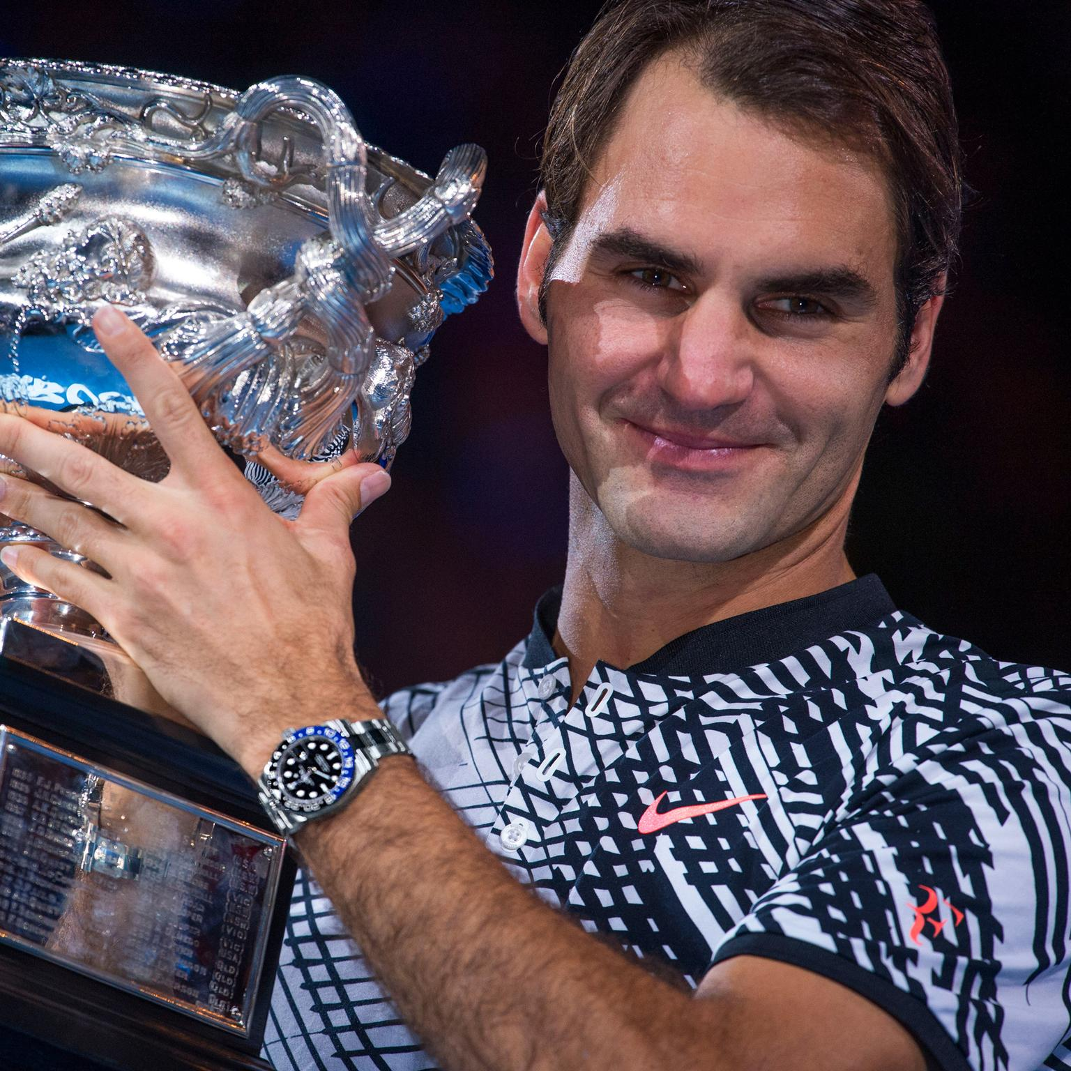 Roger Federer wins 2017 Australian Open wearing a Rolex GMT Master-ll watch