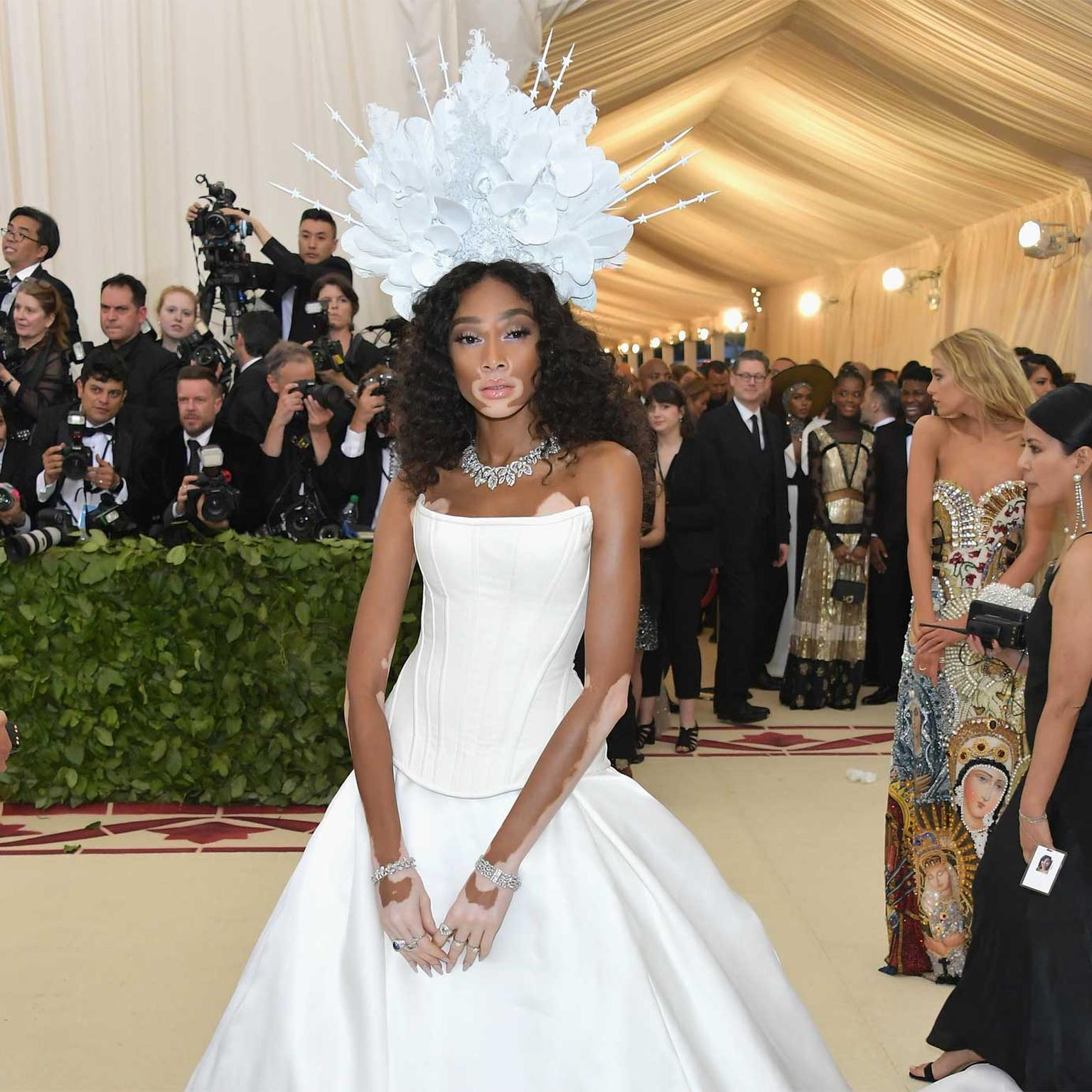 Winnie Harlow in Bulgari high jewellery diamond necklace, bracelets and rings at Met Gala 2018. Credit: Getty Images