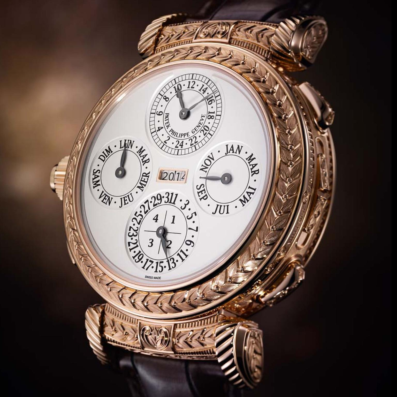 The 20 complications in the new Patek Philippe Grandmaster Chime Ref. 5175 watch include a grande and petite sonnerie (the former chiming quarter and full hours as long as the watch is wound; the latter just the hours) and a minute repeater.