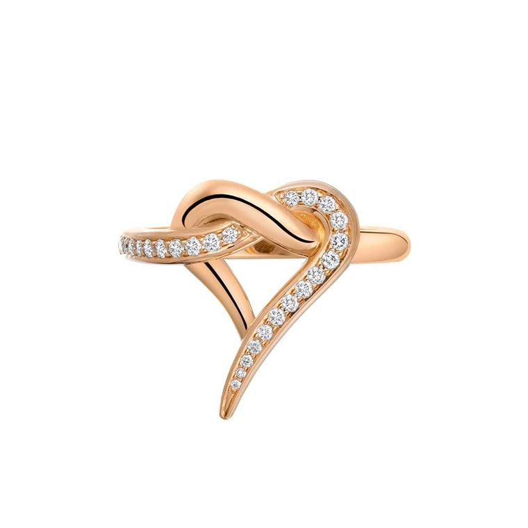 Shaun Leane rose gold and diamond Entwined heart ring