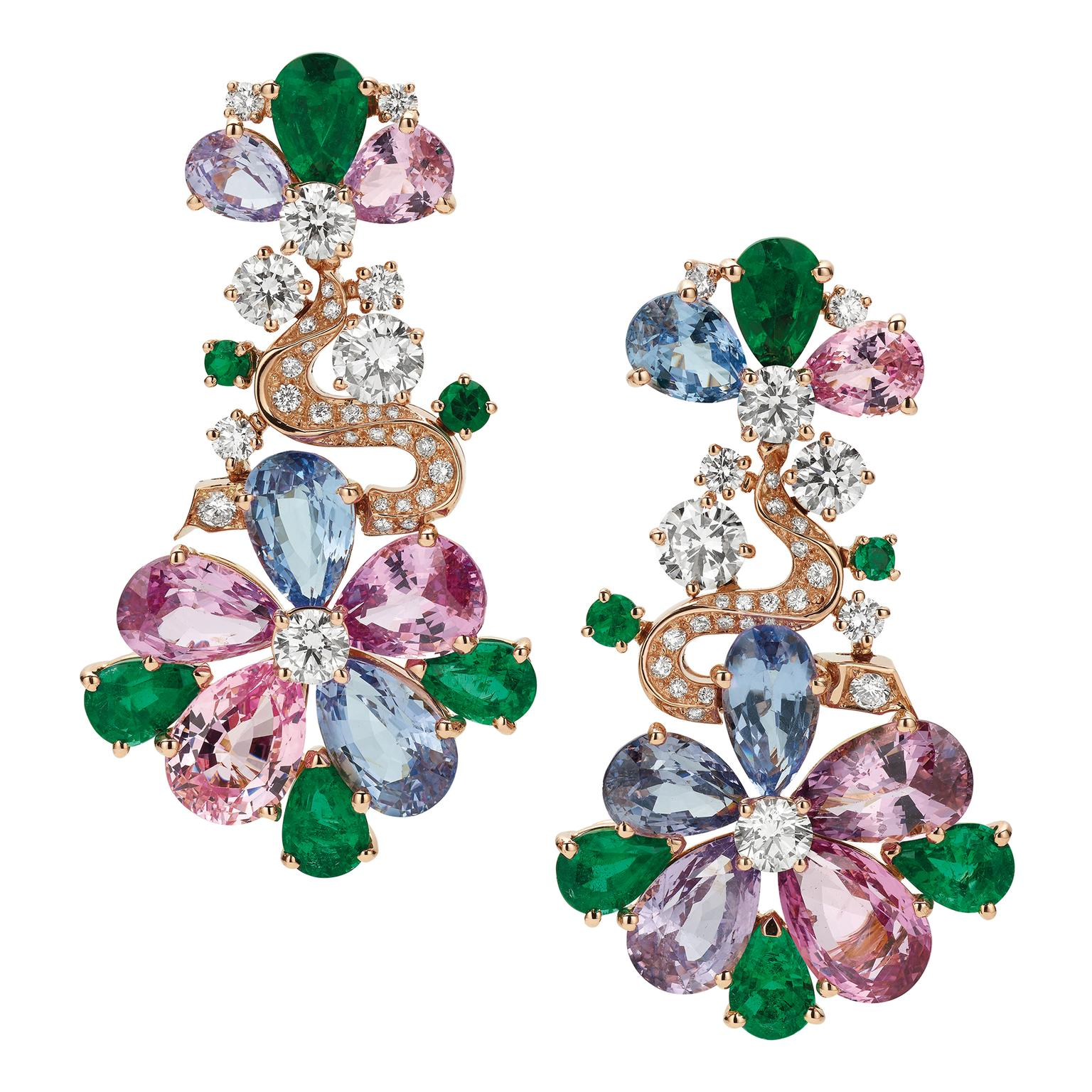 Bulgari spinel, emerald and diamond earrings