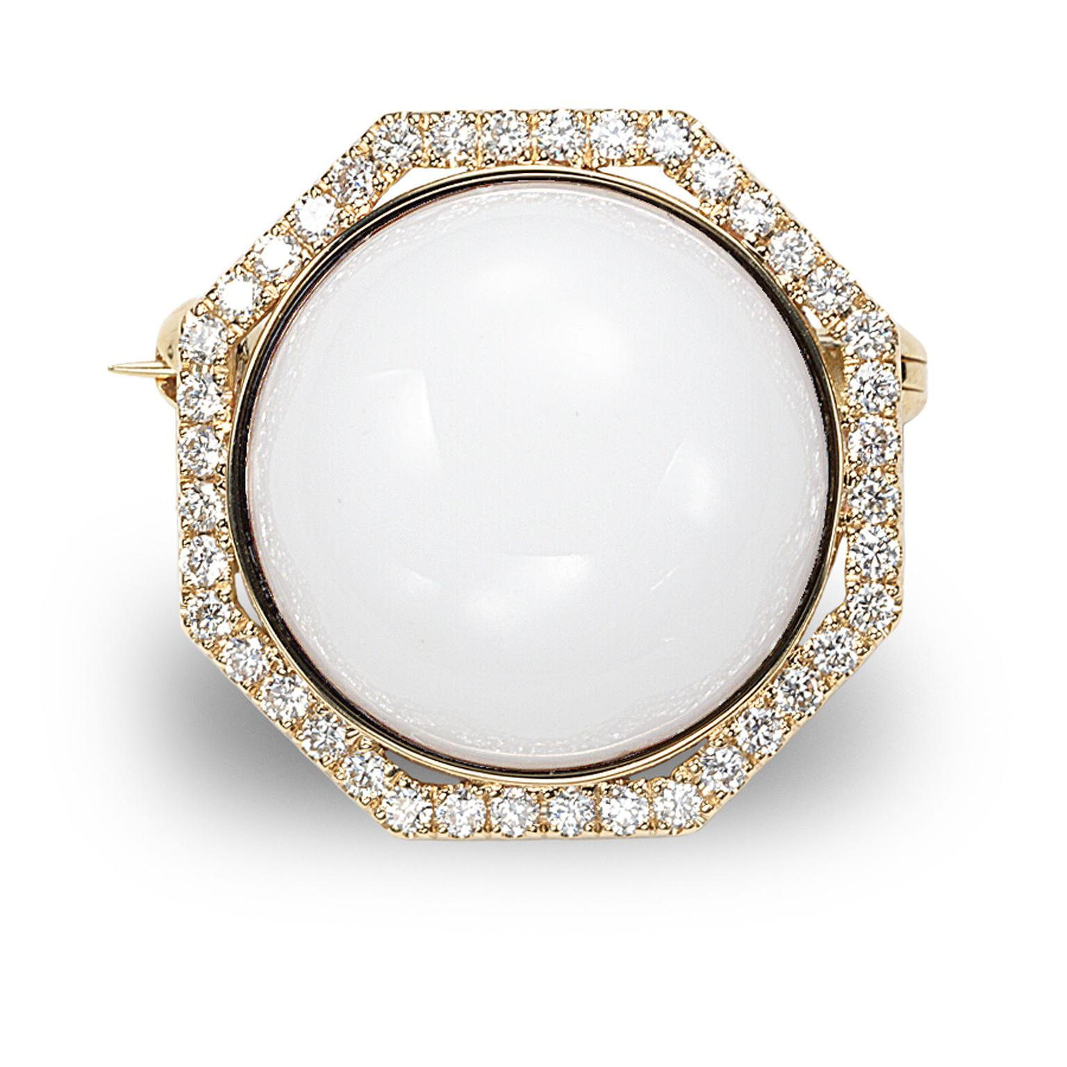 Octium Sun Collection rose gold Octagon diamond brooch with white agate
