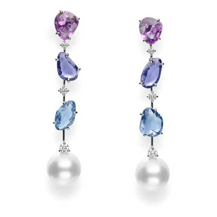 Mikimoto pearl earrings with sapphires