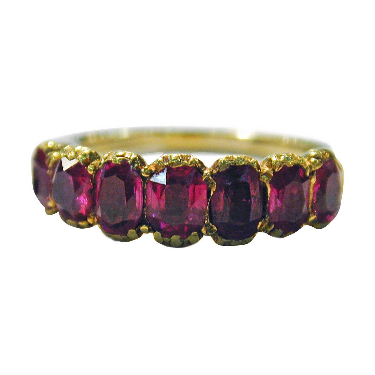 The Spare Room seven-stone Georgian Burmese ruby ring