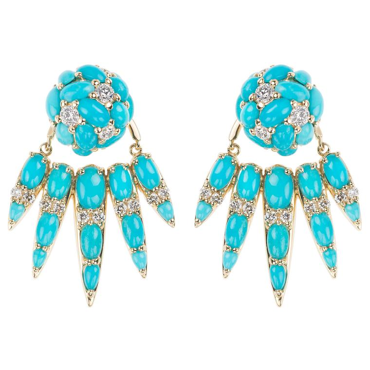 Spectrum turquoise and diamond ear jackets in yellow gold