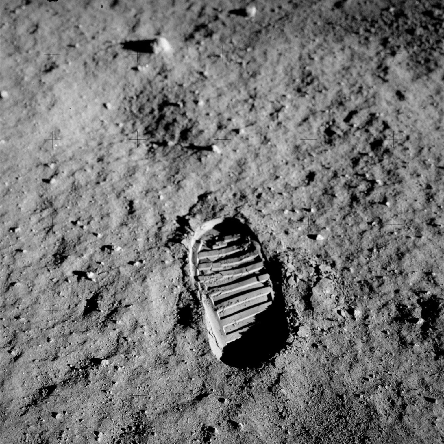 Buzz Aldrin's bootprint on the Moon