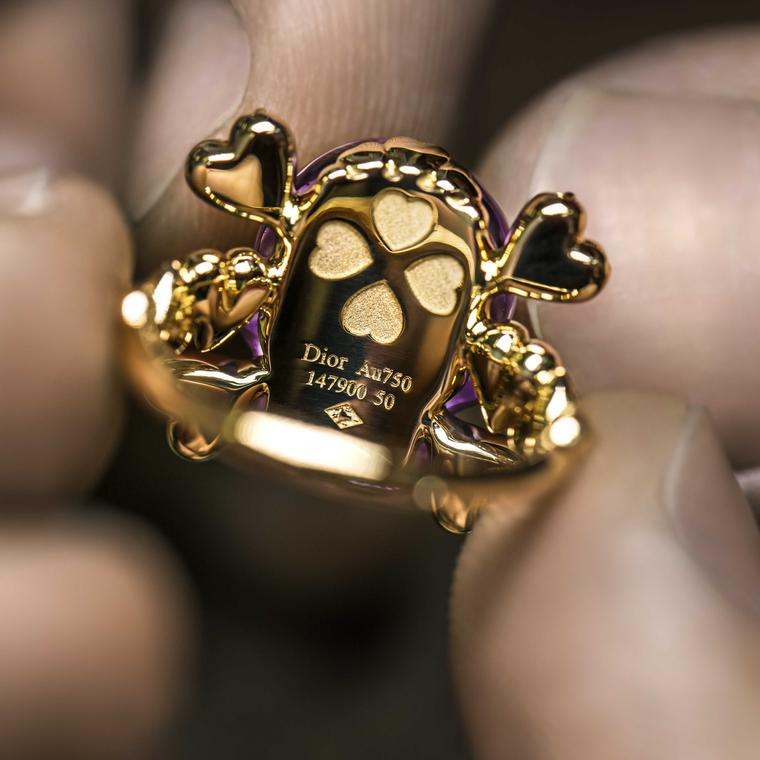 Back view Dior tete de mort amethyst ring being made Price £7650