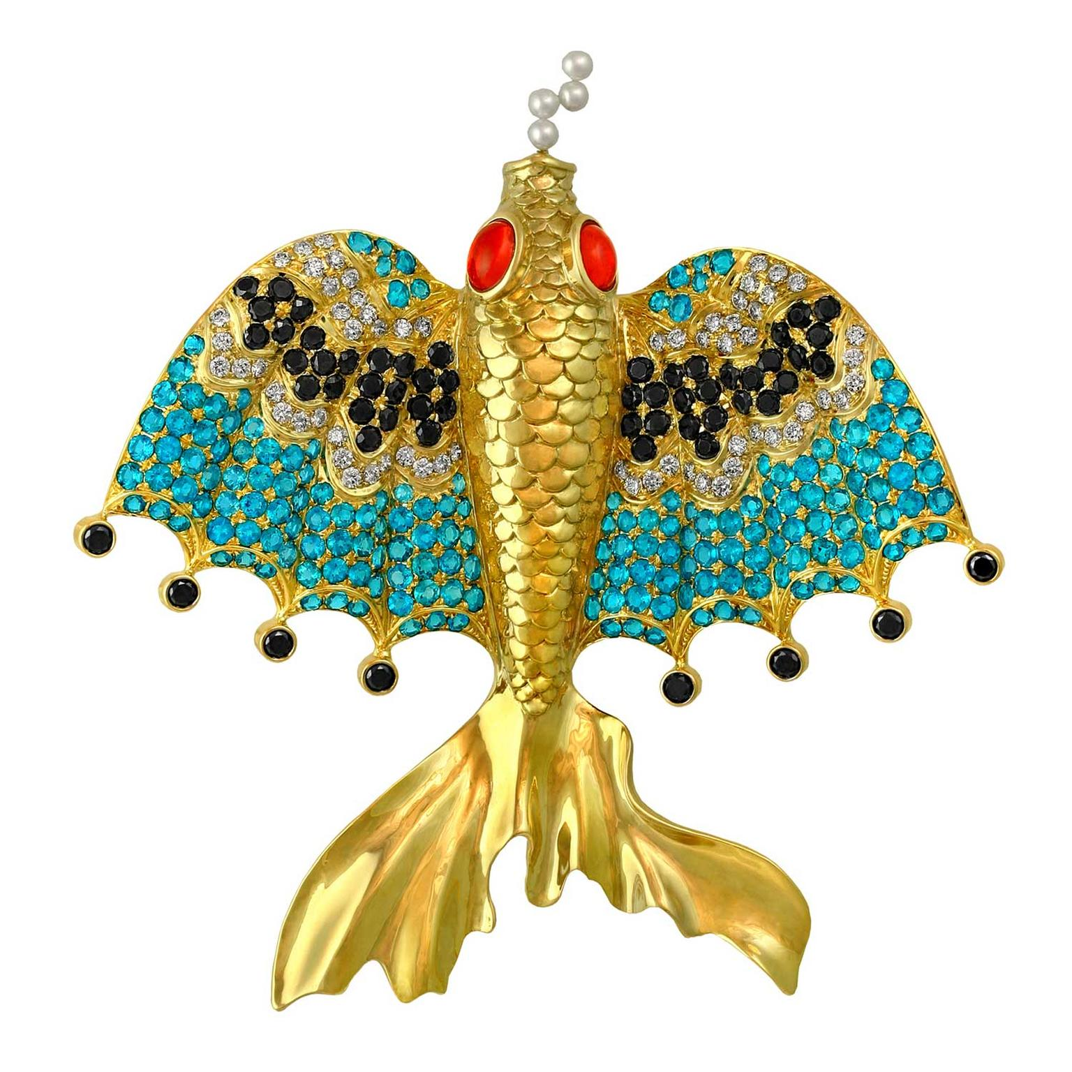 Paula Crevoshay Flying Fish of Mandalay brooch