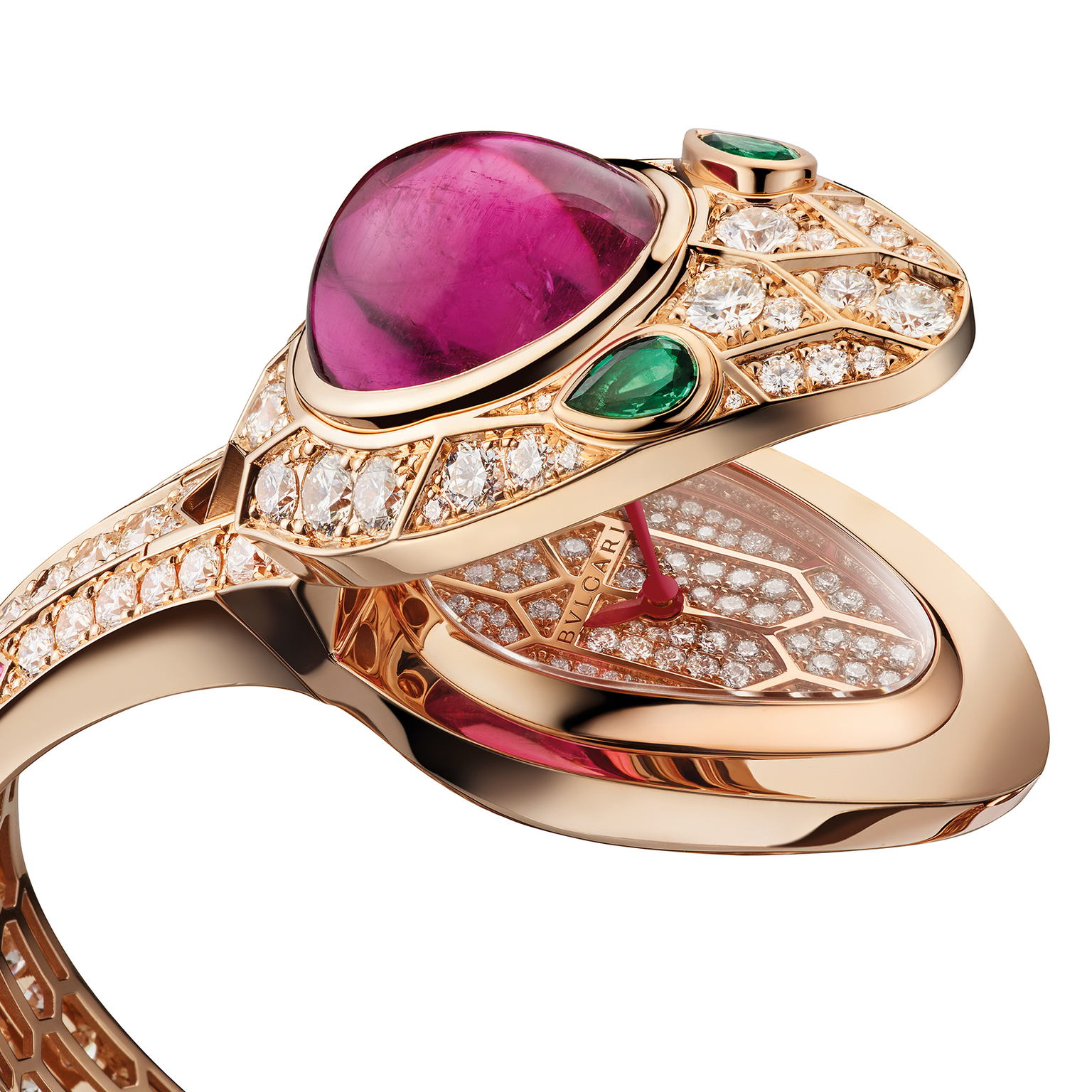 Bulgari Serpenti secret watch cuff with pink tourmaline