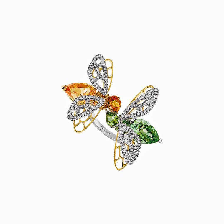 Chaumet Abeille green tourmaline and hessonite garnet ring