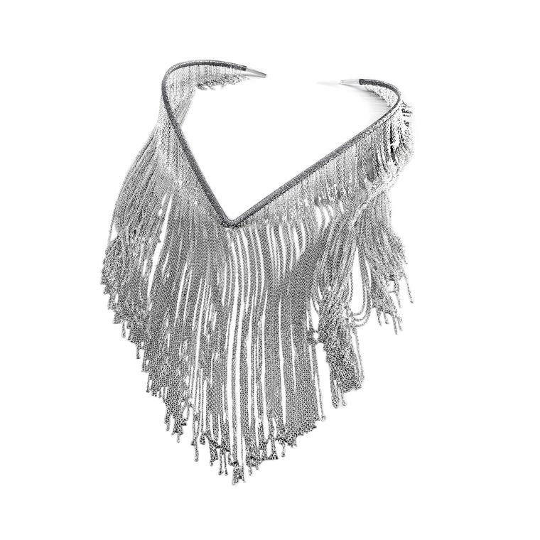 White gold handwoven fringe necklace