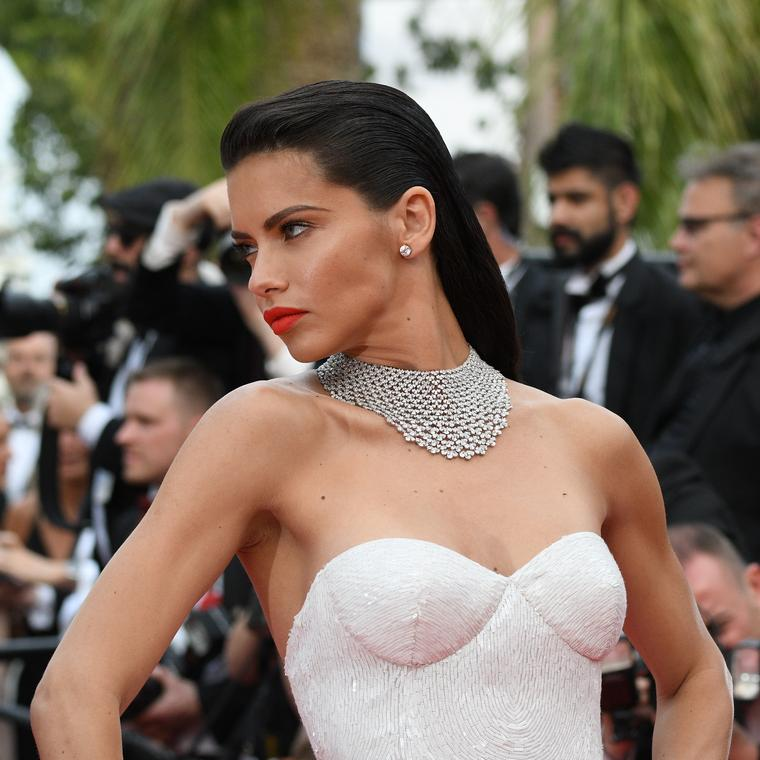 Adriana Lima at Cannes 2017 in a Chopard diamond necklace