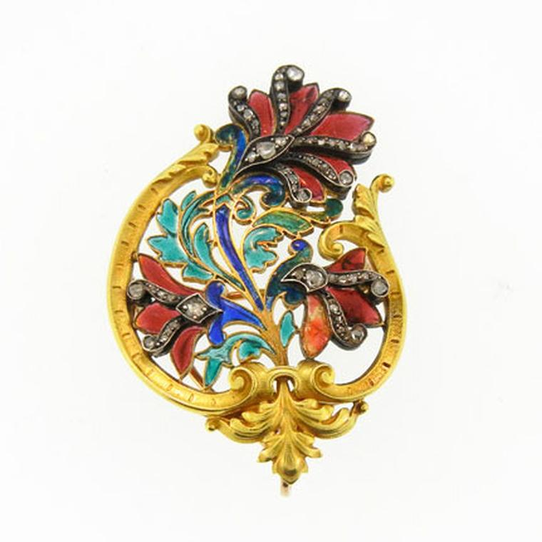 Antique brooches DK Bressler Art Nouveau enamel and gemstone set gold brooch