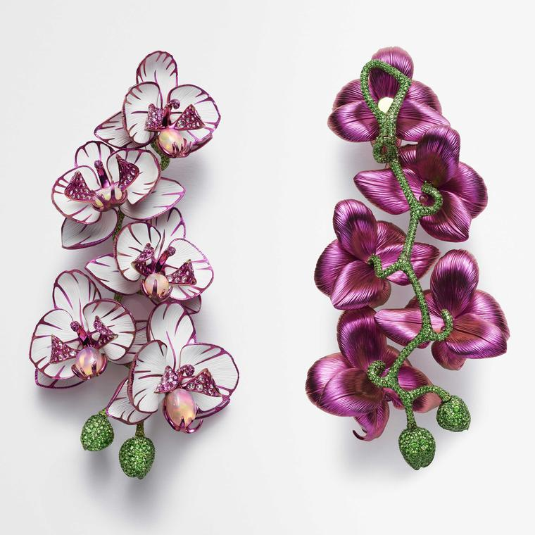 Orchid earrings in titanium with pink sapphires by Chopard from Red Carpet collection 2018