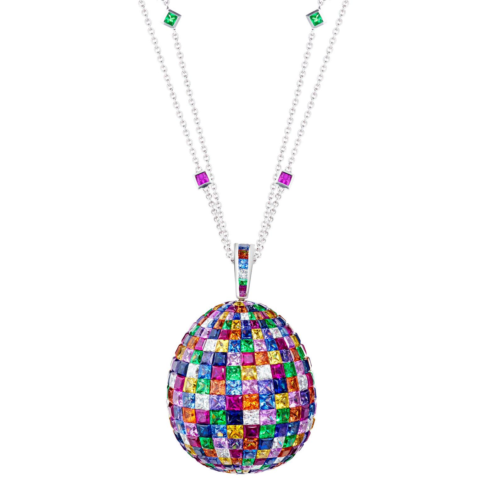 Fabergé mosaic multi-coloured pendant