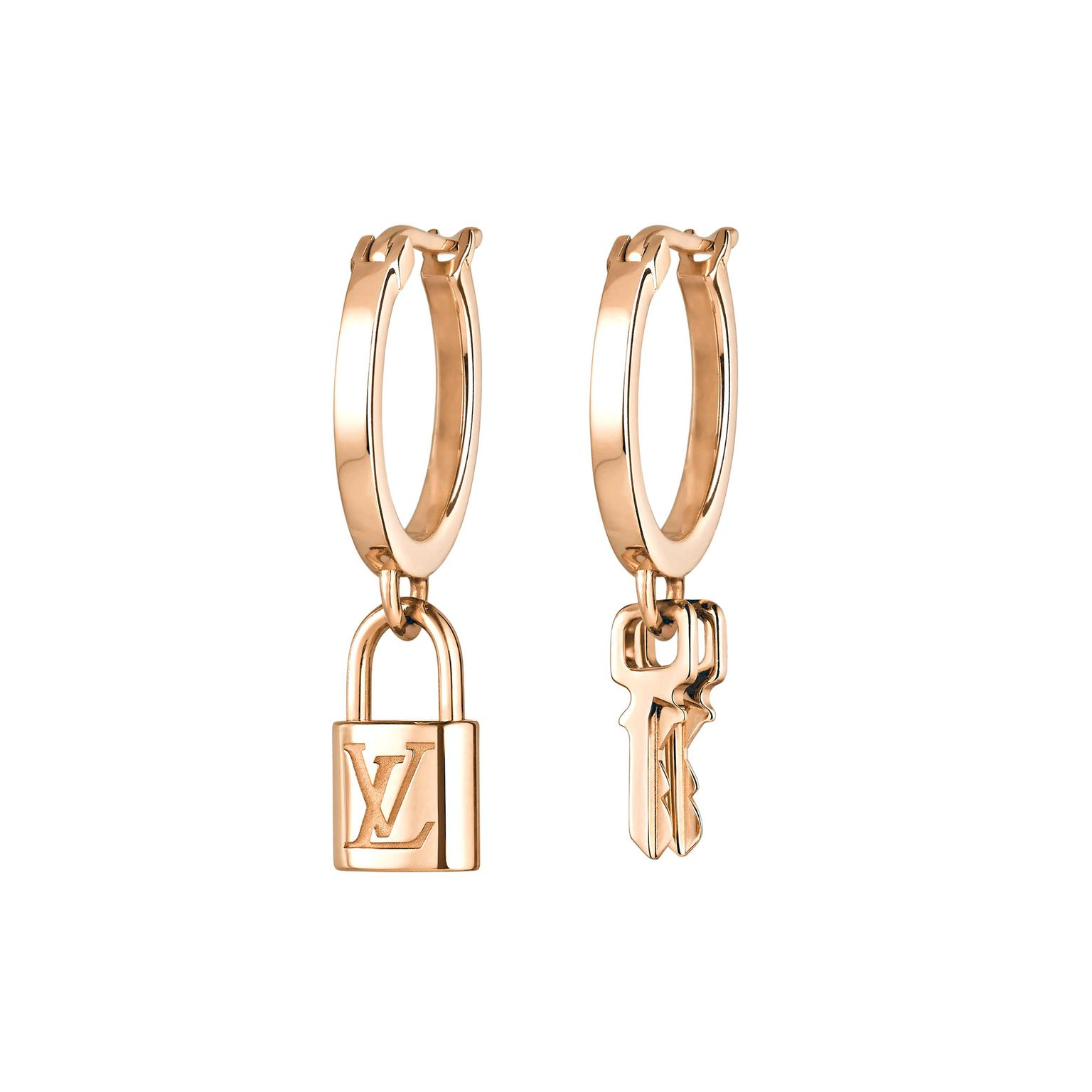 Louis Vuitton Lockit mismatched earrings