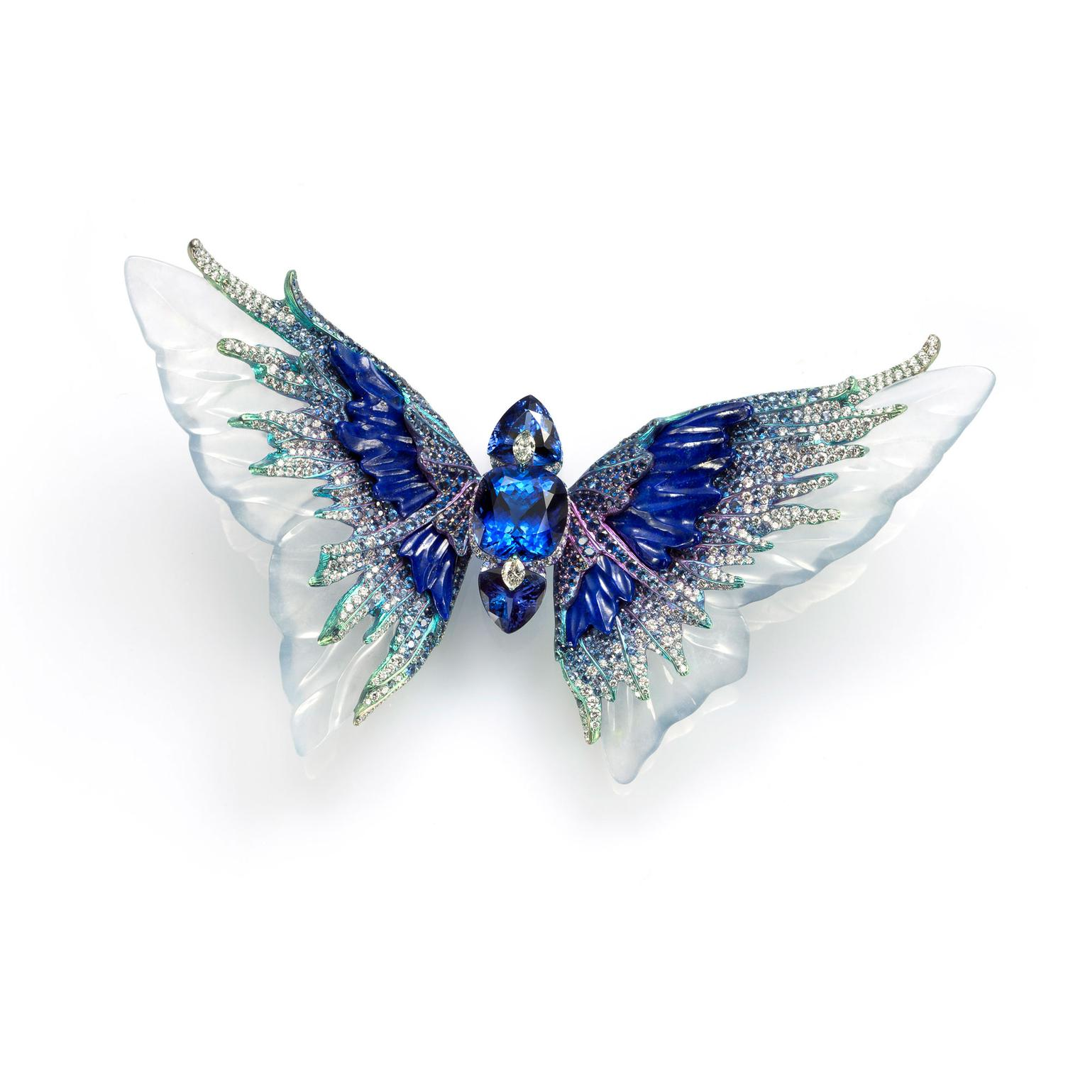 Wallace Chan Fluttery Whimsical blue coloured jade brooch