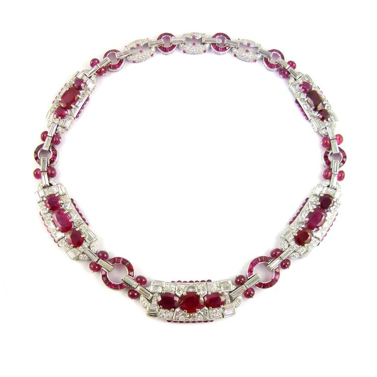 Burmese ruby and diamond cluster panel necklace by Cartier