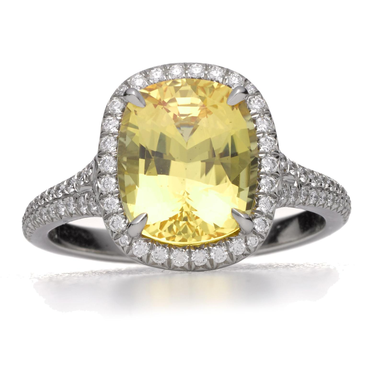 Tiffany yellow sapphire and diamond ring
