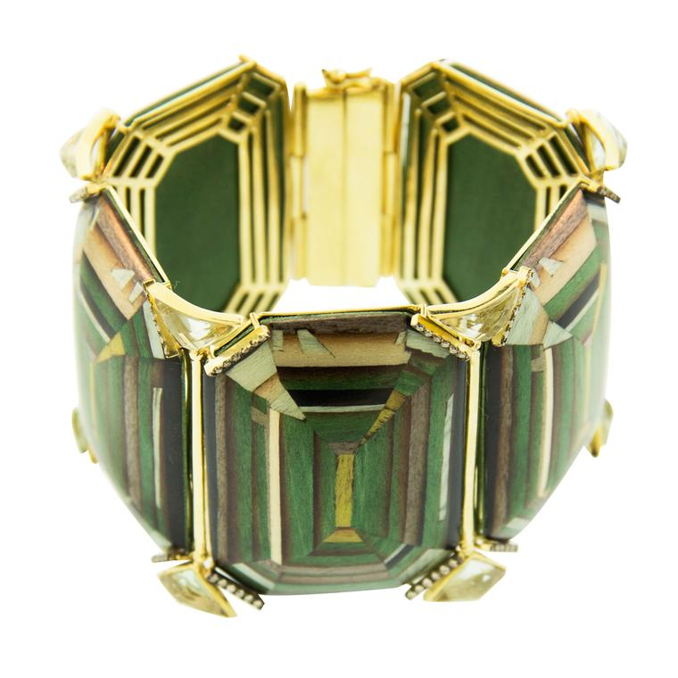 Silvia Furmanovich trompe l'oeil bracelet in gold, wood marquetry, diamonds and prasiolites
