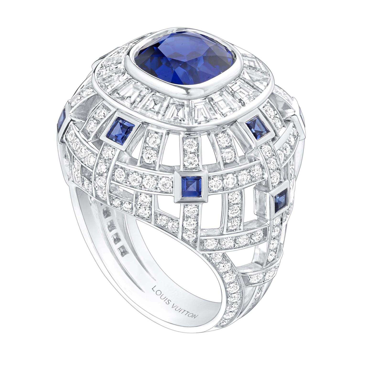 Louis Vuitton Riders of the Knights Le Royaume diamond and sapphire ring