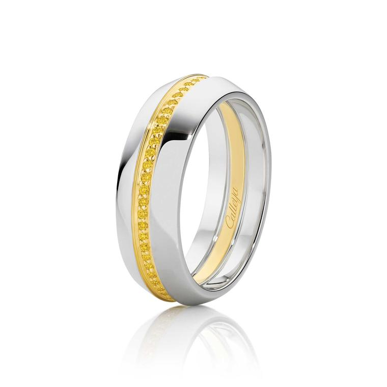 Calleija Intense yellow diamond men's wedding ring