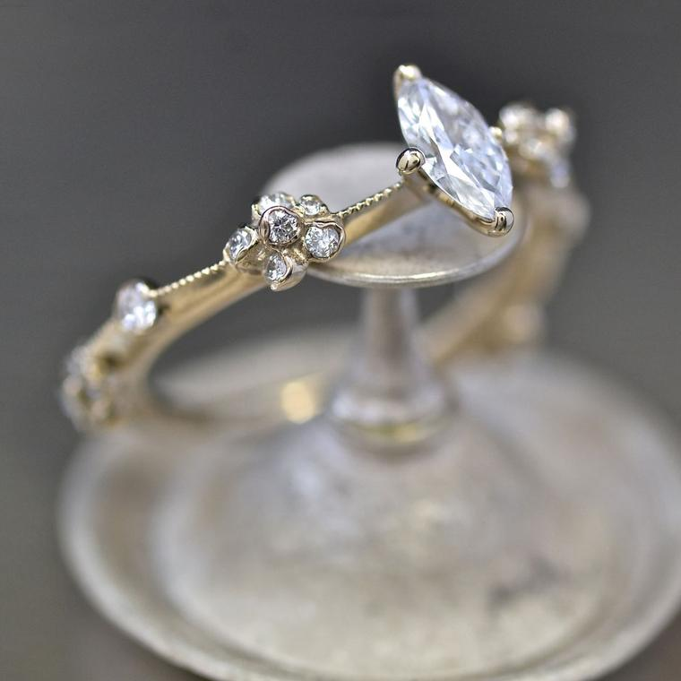 Kataoka marquise diamond engagement ring