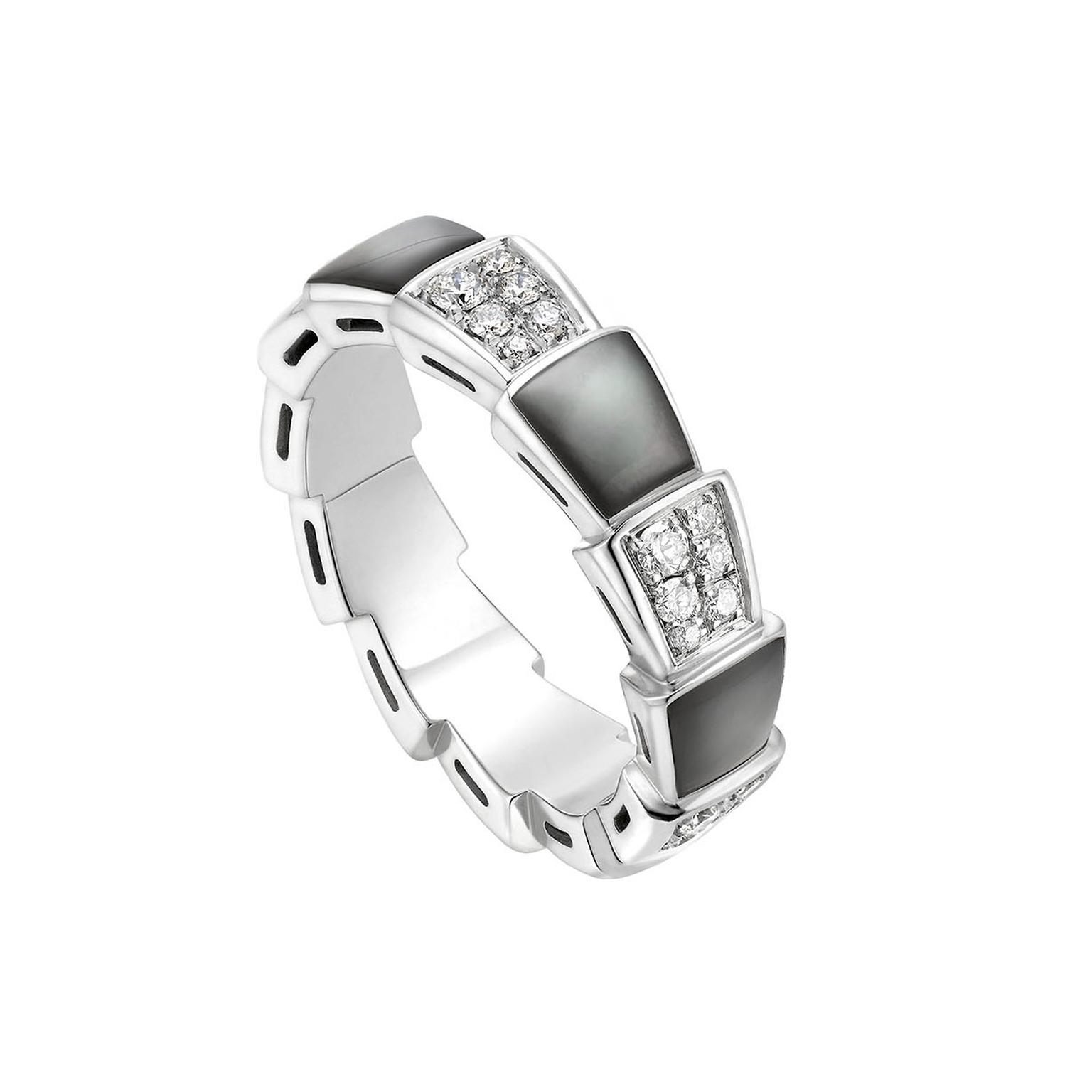 Bulgari Viper band in white gold and black mother-of-pearl
