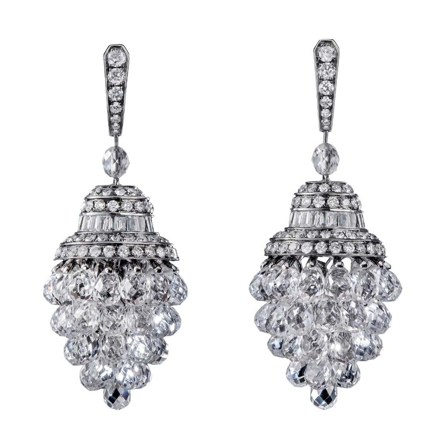 The Chandeliers earrings from No. THIRTY THREE in 18 carat black gold with white sapphire briolettes and white diamonds
