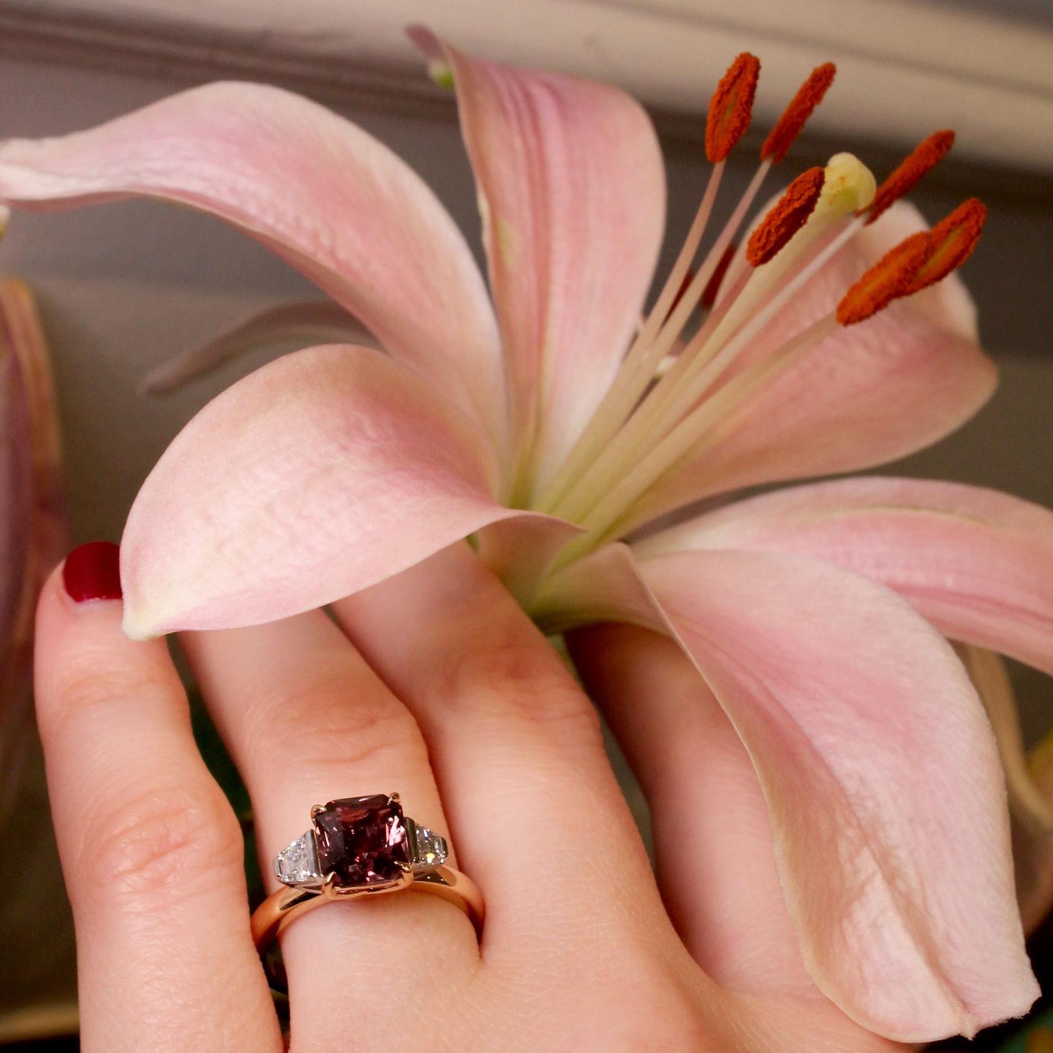Hirsh Trio purple-brown sapphire engagement ring with lily