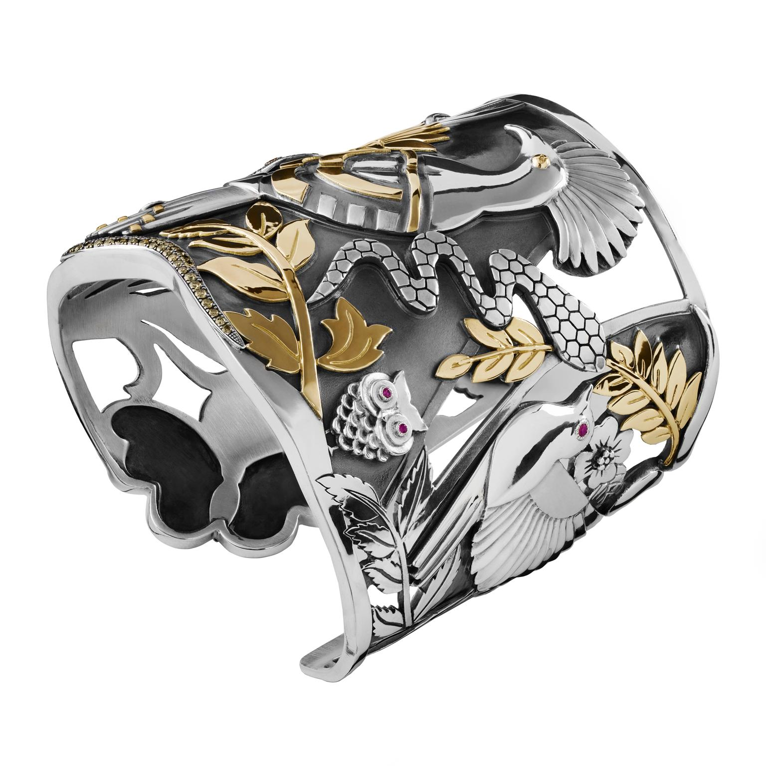 Azza Fahmy Wonders of Nature Hoopoe cuff with rubies and champagne diamonds