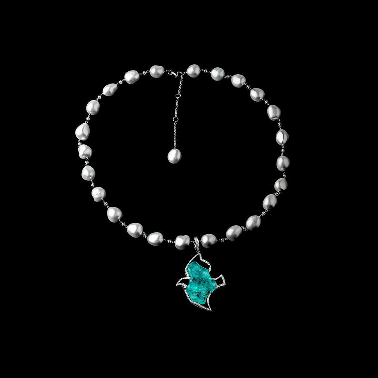 Roxalana Paraiba tourmaline necklace with diamonds and pearls
