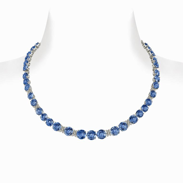 Chaumet Liens high jewellery necklace set with 34 Ceylon sapphires