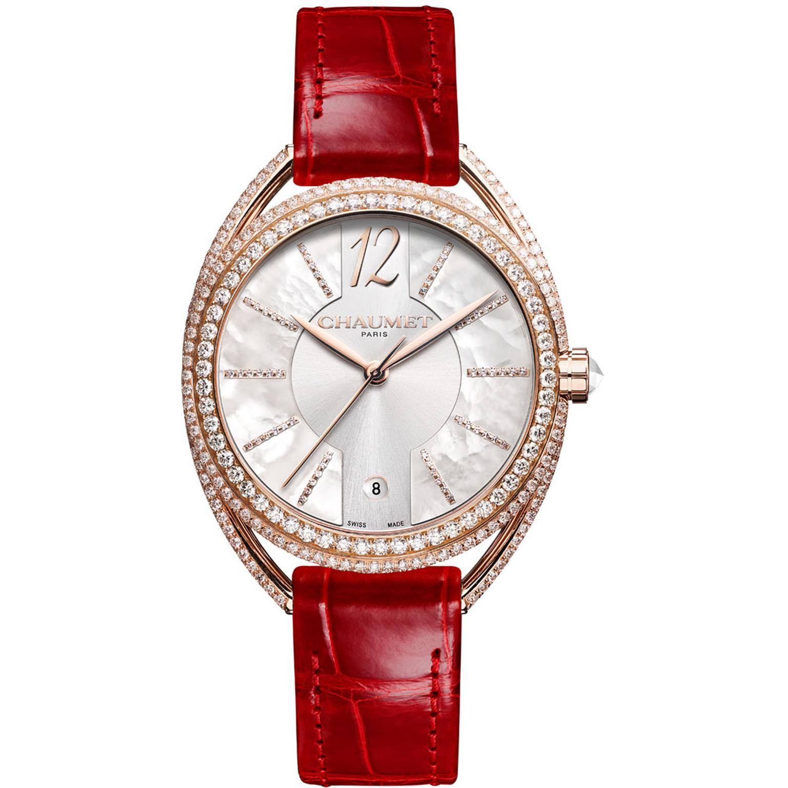 Chaumet Liens Lumière 33mm automatic watch in pink gold with diamonds